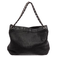 Chanel Black Woven Braided Leather CC Silver Chain Tote Shoulder Bag