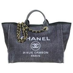 Chanel Black Woven Straw Raffia Medium Deauville Tote Bag