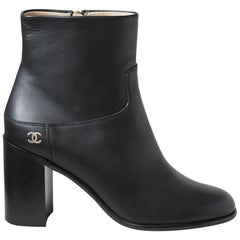 Chanel Block Heel Leather Ankle Boots