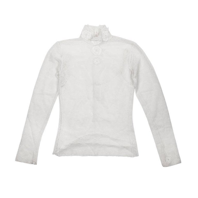 CHANEL Blouse in Off-white Lace and Its Cotton Caraco Size 42EU