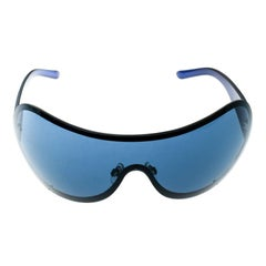 Chanel Blue 4148-B Embeliished CC Logo Shield Sunglasses