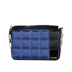 Chanel Blue and Black Quilted Silk Satin Bag, early 2000s