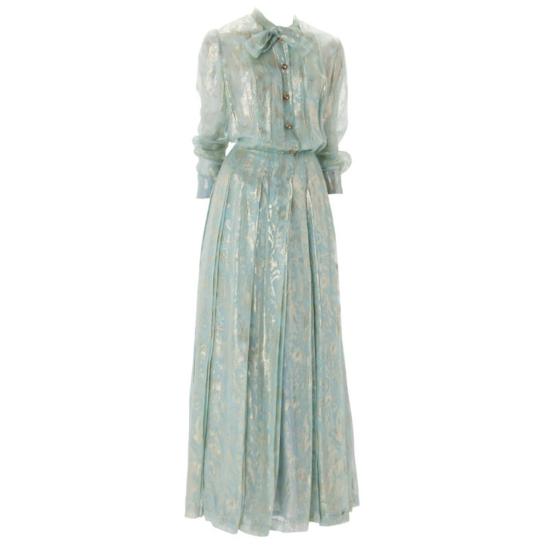 Chanel Blue and Gold Silk Lamé Dress with Self-Tie at Neck, c.1980s.