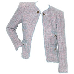 Chanel Blue and Pink Four Pocket Tweed Jacket AW 1997 Collection