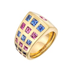 "Chanel Blue and Pink Sapphire ""Byzantine"" Band Ring"