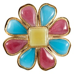 Chanel Blue and Red Gripoix Flower Pin
