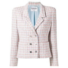 Chanel Blue and Red Tweed Boucle Jacket