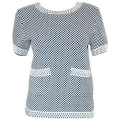 Chanel Blue and White Knit Round Collar Short Sleeve Top