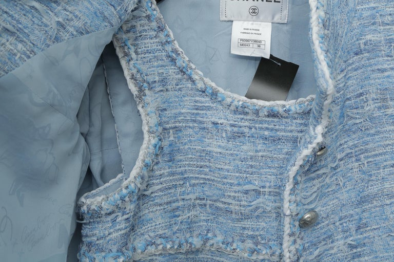Women's Chanel Blue Baby Tweed with Matching Jacket Cocktail Dress For Sale