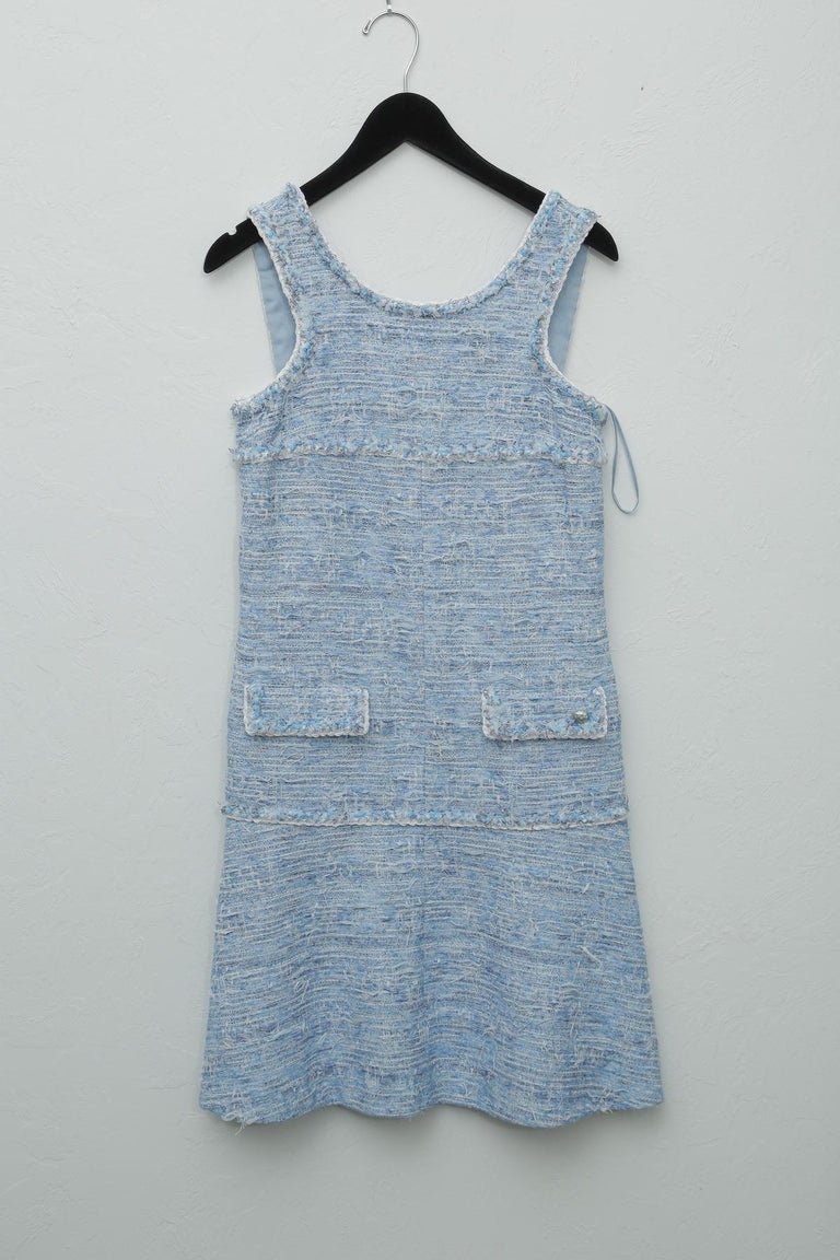 Chanel Blue Baby Tweed with Matching Jacket Cocktail Dress For Sale 3