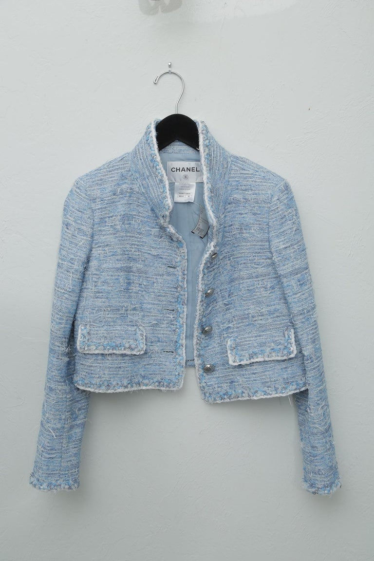 Chanel Blue Baby Tweed with Matching Jacket Cocktail Dress For Sale 4