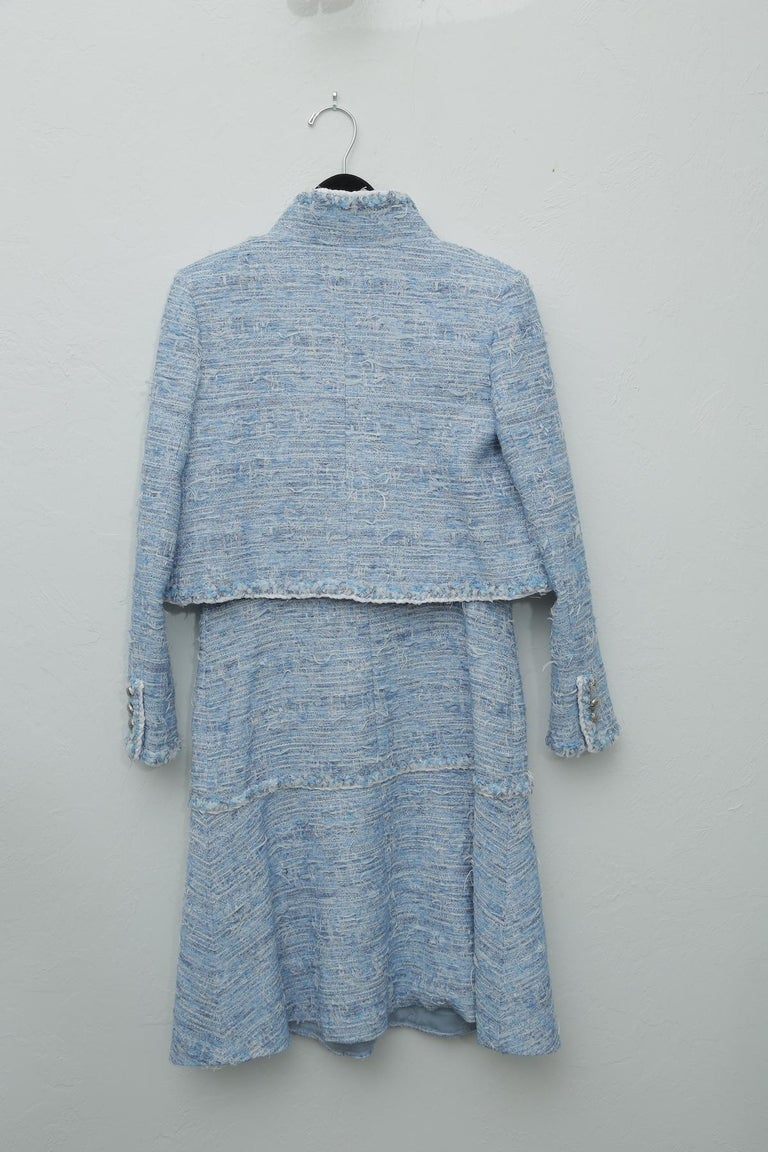 Chanel Blue Baby Tweed with Matching Jacket Cocktail Dress For Sale 5