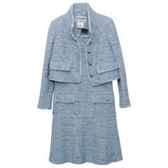 Chanel Blue Baby Tweed with Matching Jacket Cocktail Dress