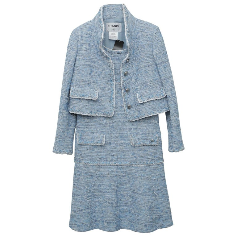 Chanel Blue Baby Tweed with Matching Jacket Cocktail Dress For Sale