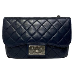 Chanel Blue Bag in Leather with Silver Hardware