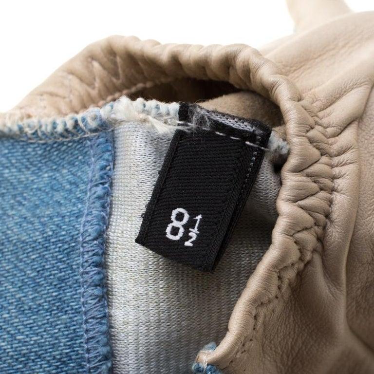 Women's Chanel Blue/Beige Denim and Leather CC Camellia Fingerless Gloves