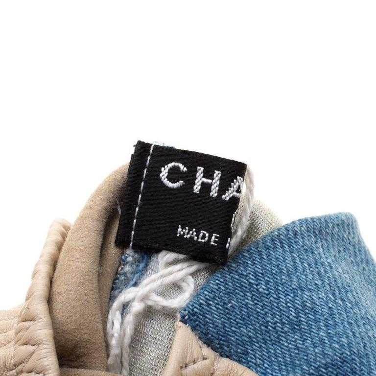 Chanel Blue/Beige Denim and Leather CC Camellia Fingerless Gloves 1