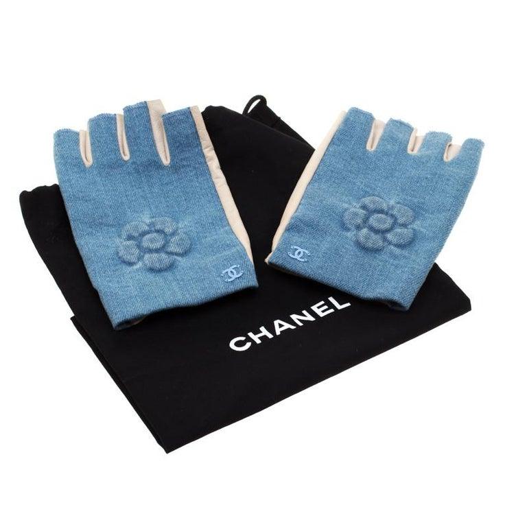 Chanel Blue/Beige Denim and Leather CC Camellia Fingerless Gloves 2