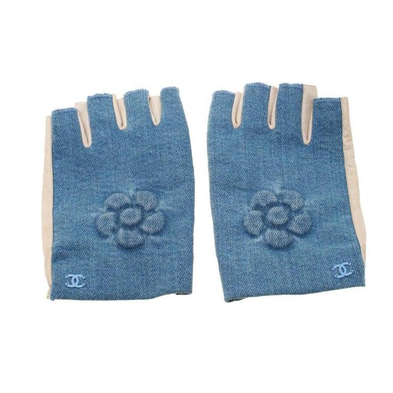 Chanel Blue/Beige Denim and Leather CC Camellia Fingerless Gloves
