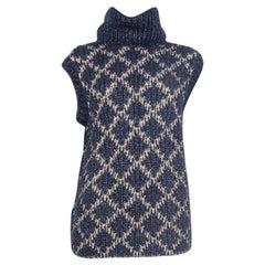 CHANEL blue & beige mohair Sleeveless Turtleneck Sweater 38 S