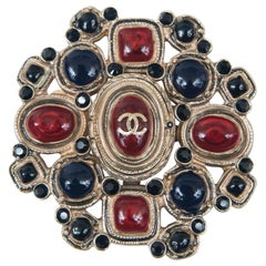 Chanel Blue, Black and Red Enamel Cluster Pin