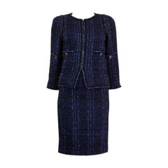 CHANEL blue & black cotton blend Boucle Tweed Blazer Jacket 38 S