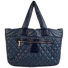 Chanel Blue Black Nylon Reversible Coco Cocoon Tote Bag Handbag