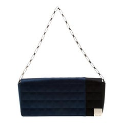 Chanel Blue/Black Satin Ice Cube Limited Edition Flap Bag