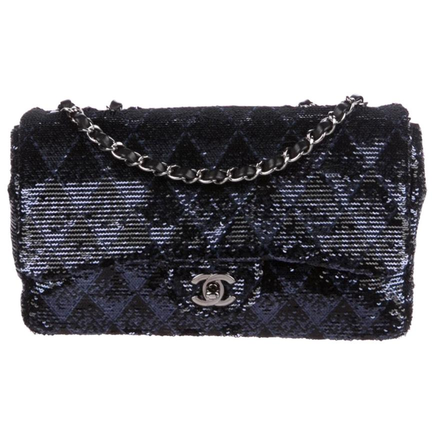 Chanel Blue Black Sequin Chevron Silver Medium Evening Shoulder Flap Bag