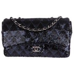 Chanel Blue Black Sequin Chevron Silver Medium Evening Shoulder Flap Bag