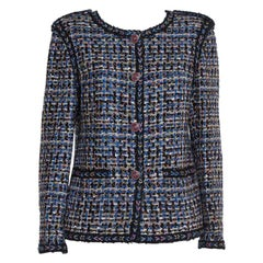 Chanel Blue & Black Tweed Button Front Jacket XL