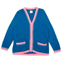 Chanel Blue Cashmere Cardigan With Contrasting Pink Trim US 12