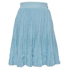 Chanel Blue Cashmere & Line Pleated Short Skirt M