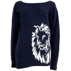 CHANEL blue cashmere LION PRINT Sweater 38 S