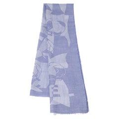 Chanel Blue Cashmere Silk Camellia Shawl