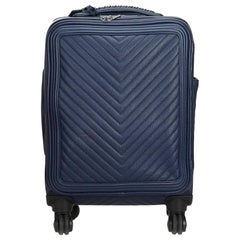 Chanel Blue Caviar Leather Leather Caviar Coco Case Trolley Italy