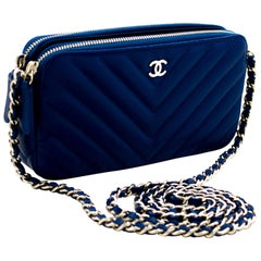 CHANEL Blue Caviar WOC Wallet On Chain V-Stitch Shoulder Bag Leather