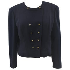 Chanel blue CC logo buttons wool jacket