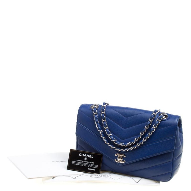 7455a59f78be Chanel Blue Chevron Quilted Leather Medium Classic Flap Bag For Sale ...