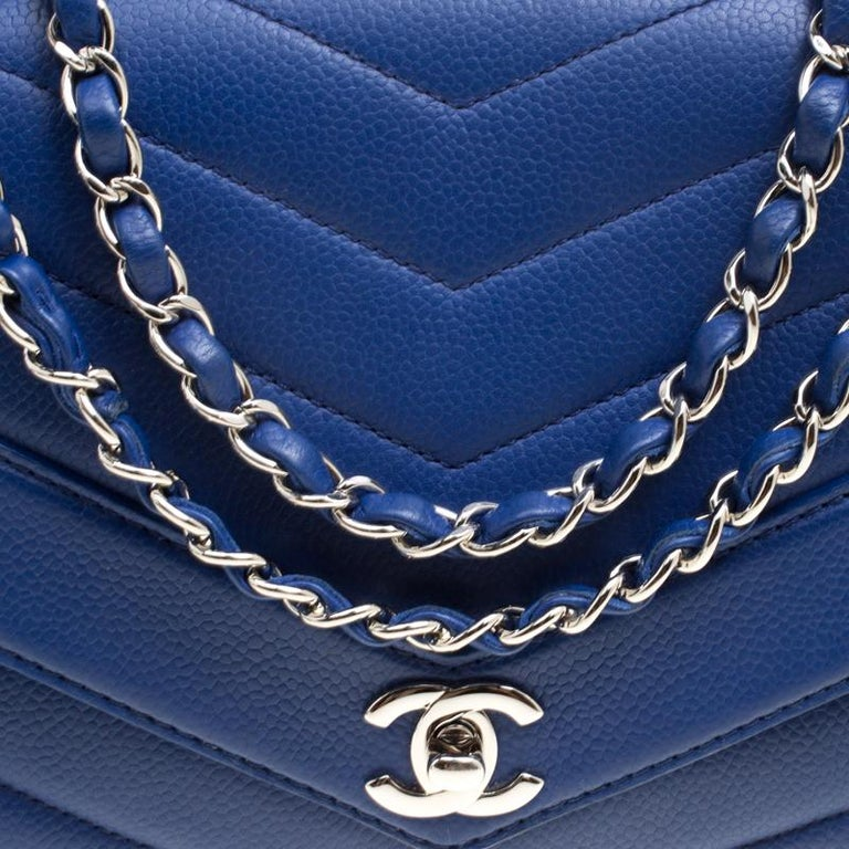 408dc5e9de84cc Chanel Blue Chevron Quilted Leather Medium Classic Flap Bag For Sale ...