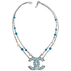 Chanel Blue & Clear Rhinestone CC Logo Necklace, 2019 Collection