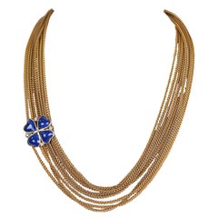 Chanel Blue Clover Gold Multi Chain Vintage Necklace