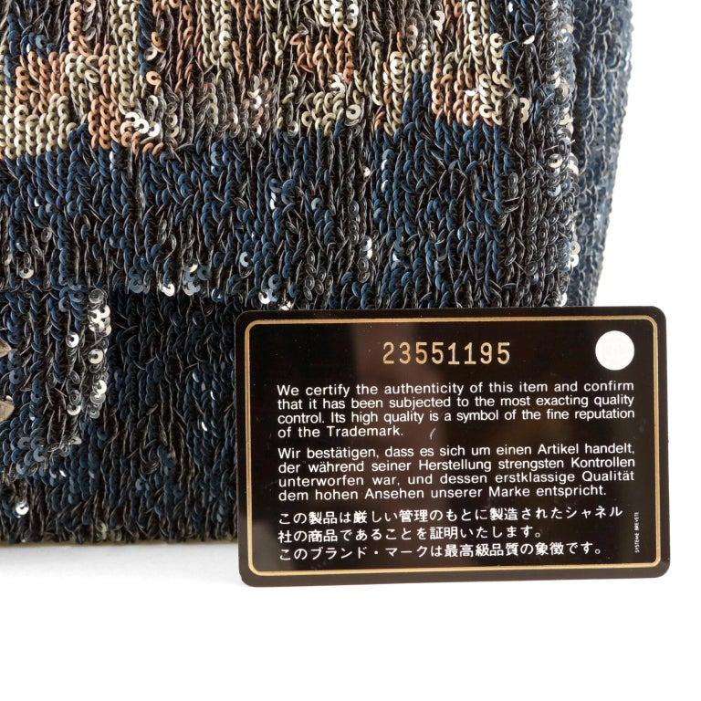 Chanel Blue COCO CUBA Sequins Flap Bag For Sale 7