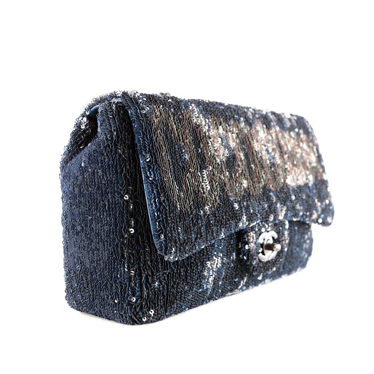 """Chanel Blue Coco Cuba Sequins Flap Bag-  pristine condition From the 2017 Cruise Collection, the classic Chanel silhouette is embellished with sequins and """"COCOCUBA"""" lettering.  Dark blue sequins cover the landscape of this single flap bag.  Aged"""