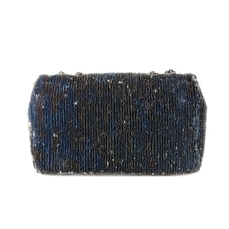 Black Chanel Blue COCO CUBA Sequins Flap Bag For Sale