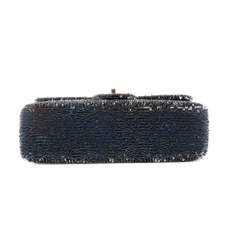 Chanel Blue COCO CUBA Sequins Flap Bag In Excellent Condition For Sale In Palm Beach, FL