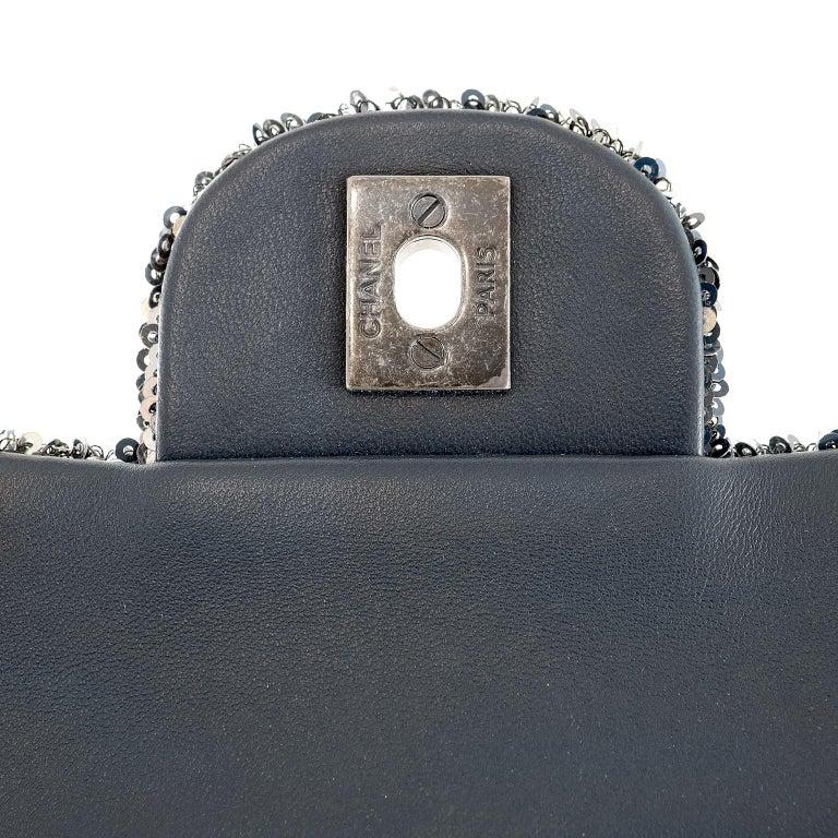 Chanel Blue COCO CUBA Sequins Flap Bag For Sale 3