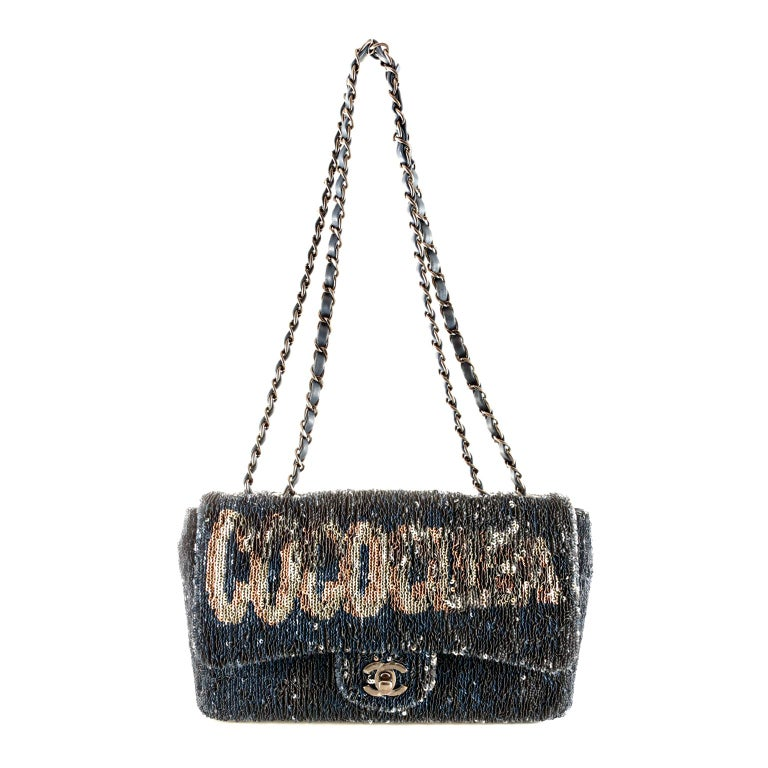 Chanel Blue COCO CUBA Sequins Flap Bag For Sale 4