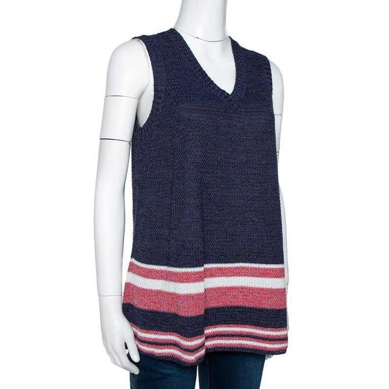 Black Chanel Blue Cotton Blend Striped Sleeveless Top M For Sale