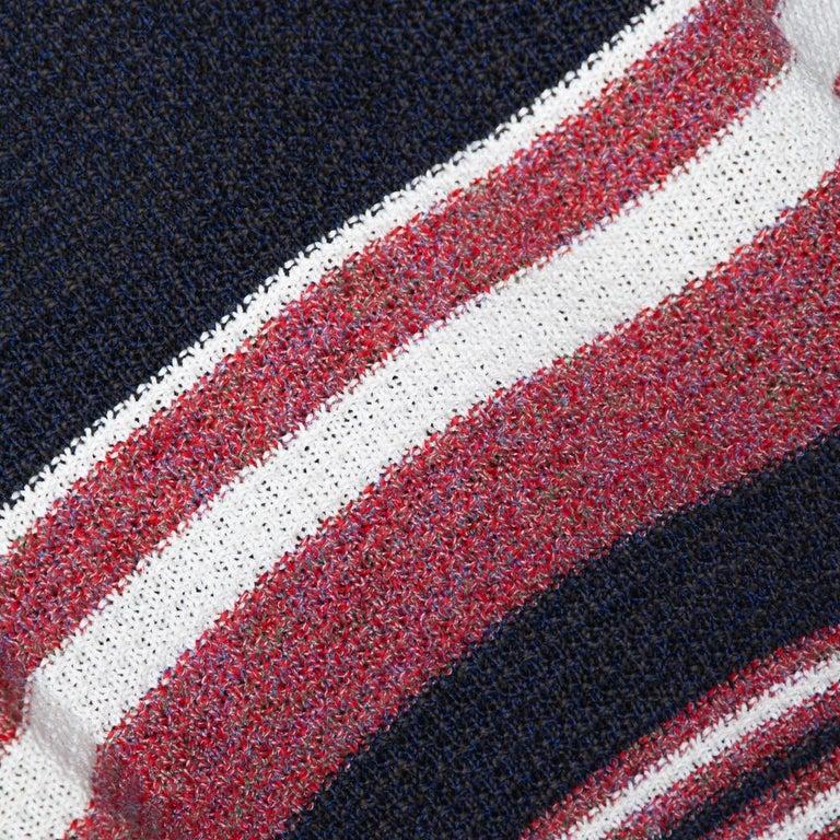 Chanel Blue Cotton Blend Striped Sleeveless Top M In Excellent Condition For Sale In Dubai, Al Qouz 2